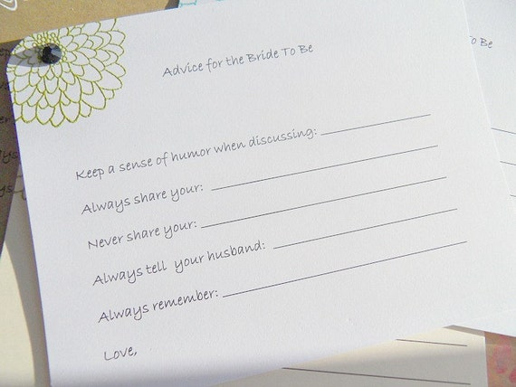 Bridal Shower Games Advice For Bride To Be Advice Cards