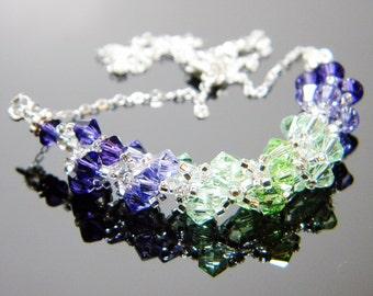 "Purple and Green Swarovski Crystal Necklace Purple Velvet Tanzanite Peridot Chrysolite - ""Grape Hyacinth"" by Whimsy Beading"