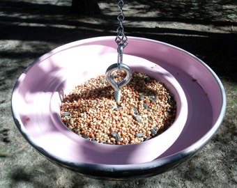 Pink Bird Feeder - 1961 - 1962 Buick Special Hubcap Hanging Birdfeeder - Metal Feeder - Automotive - Eco-friendly