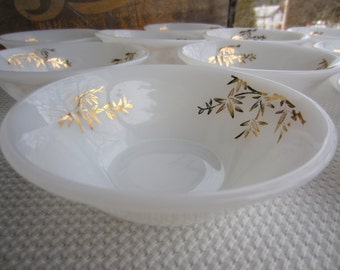 Vintage Federal Glass Golden Glory Milk Glass Small Berry Bowl Fruit Dessert Bowls