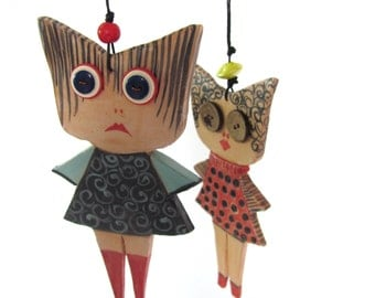 My Japanese Friends - Ceramic dolls--- gift-ceramic Marionette-can be part of a moblie--home decor.Gift under 50 USD--Spring