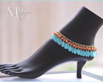 Turquoise Tangerine and Gold Anklet