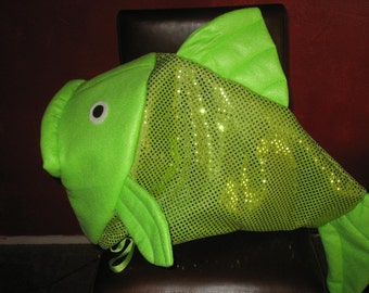 Lime Green fish head costume-one fits all