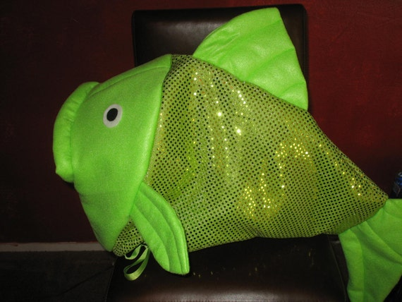 Lime green fish head costume one fits all by lauriesgift for Fish head costume