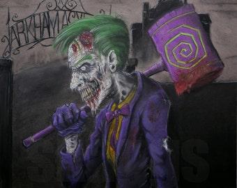 Zombie Joker. Print of charcoal original
