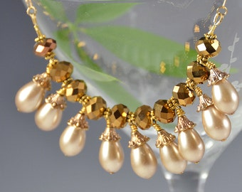 Pearl Necklace Gold Beaded AB Aurora Borealis Glass Teardrop 50s Vintage - W2642