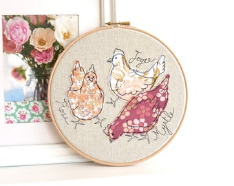 "Me & my Girls - Personalised Embroidery Hoop Art - Chickens textile artwork in pink - 8"" hoop"