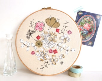 "Hello Petal - Personalised Embroidery Textile Artwork - Floral Hoop Art in pink & gold - Large 10"" hoop"