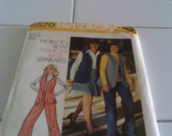 1974Simplicity Vest, Short Skirt and Pants Pattern