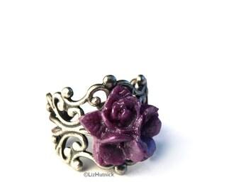 Star RoseRing, Purple Flower Cocktail Ring, Adjustable