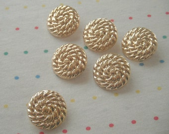"Gold Nautical Round Rope Wrapped Shank Buttons, Large Gold Buttons, 1"" Wide (6)"