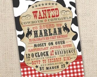Cowboy Themed Western Birthday Invitation (4x6 or 5x7) Digital Design