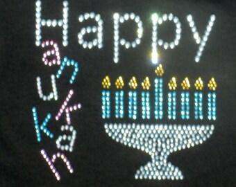 "6"" x 6"" Pastel Happy Hanukkah Menorah rhinestone iron on transfer for t-shirt or dress"