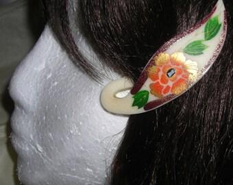 Vintage Celluloid Hair Clip .....Floral hair Clip.....Ladies Hair Accessories