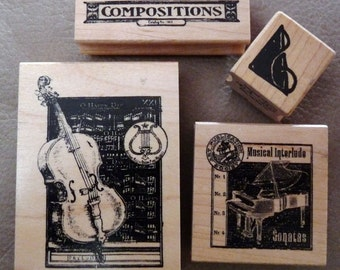 Musical Instruments - Set of 4 WM Rubber Stamps by Club Scrap - Cards - Collage - Scrapbooks - FREE Shipping