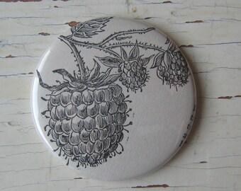 Raspberry Antique Encyclopedia Illustration Pocket Mirror