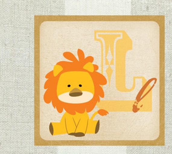 Jacob's Nursery Print - 12x12 Alphabet Name, Animal