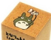 Totoro and Butterfly Wooden Rubber Stamp