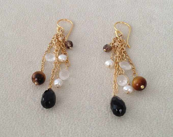 Semiprecious Gemstone Dangle Earrings in Gold Vermeil with Rainbow Obsidian, Tiger's Eye, Smoky Quartz, Moonstone and Pearls