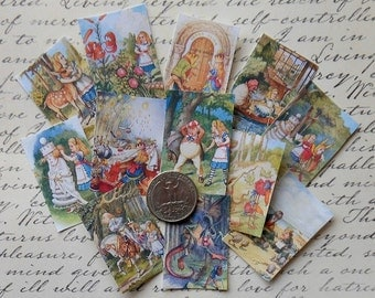 YOUR CHOICE of 3 Different SETS- Alice in Wonderland full color altered art Alice in Wonderland jewelry art Alice printed jewelry stickers