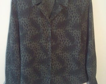 polyester leopard print shirt blouse camouflage military green olive animal print punk grunge petite 6 Saved by the Bell