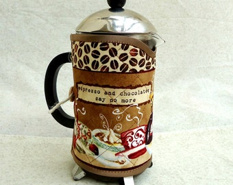 """Cafetiere cosy """"Coffee beans"""",French Press Coffee Pot Cozy"""