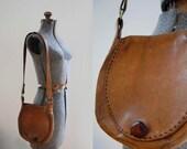 V I N T A G E Seventies Leather Shoulder Bag. Hippie Boho. Handcrafted.