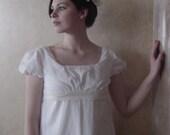 CUSTOM White Regency Jane Austen Cotton Day Gown Dress in white or natural muslin