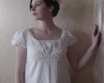 CUSTOM White Regency Jane Austen Cotton Day Gown Dress in white or natural muslin