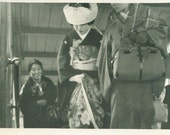Traditional Dress Japanese Women Japan 1940s 1950s Black White Vintage Photo Photograph