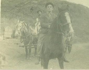 1912 Ventura California Boy Riding Horse Bareback Wagon Team Behind Real Photo Postcard Antique RPPC