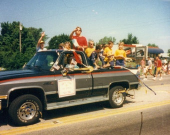 1987 Boy Scouts Throwing Candy From Back of Pick Up Truck Small Town Parade Vintage Color Photo Snapshot Photograph