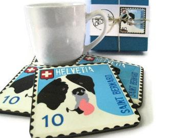 Saint Bernard Art Dog Coasters Home Decor Hostess Gift