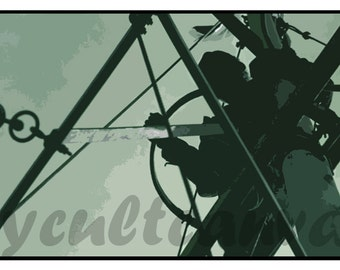 """Original JAWS """"Quint"""" 10"""" x 20"""" Giclée Art Print by Phil Gibson Shark Poster"""