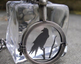Raven Necklace - Raven Locket - Silver Raven Locket - Sterling Raven Necklace - Raven Pendant - Sterling Silver Handmade Locket - Nevermore