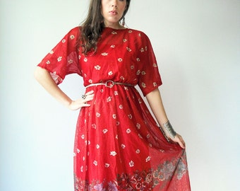 70's Vintage Cherry Red Metallic Gauze India Dress / Kimono Sleeve / Floral Print / Long Flowy Length