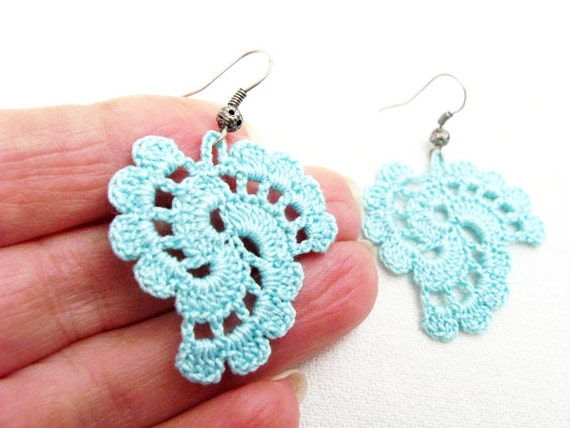 Crochet Earrings : PDF Tutorial Crochet Pattern...Dangle Earrings -20