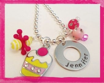 Personalized Necklace - Hand Stamped  SWEET SURPRISE Necklace for Children