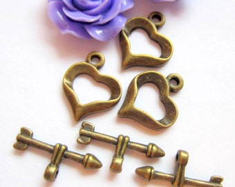 Jewelry Toggles hearts antique bronze 6 sets jewelry findings bronze clasp 13mm x16mm MLF1109