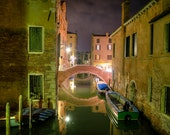 Venice Night Photo, Canal Photography Bridge Water Italy Photograph Rialto Reflection Wall Art Home Decor ven52