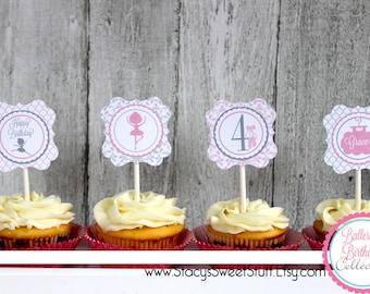 Ballerina Birthday Cupcake Toppers, DIY, Printable