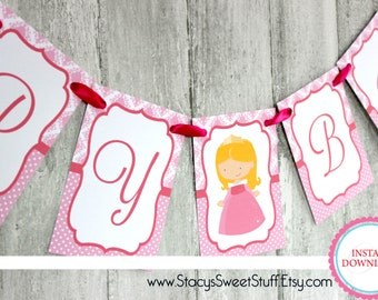Sleeping Beauty birthday banner, DIY, Printable, INSTANT DOWNLOAD