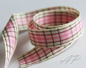5 Yards of 5/8inch (15mm)  Pink, Brown, Cream Gingham Plaid Ribbon for Jewelry, Accessories, Clothing