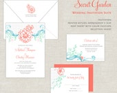Coral & Turquoise Wedding Invitations, Garden Wedding Invitation, Wedding Invites, Mint, Whimsical, Romantic, Modern, Calligraphy Script