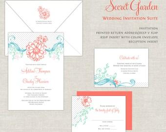 Coral & Turquoise Wedding Invitations, Garden Wedding Invitation, Wedding Invites, Mint, Whimsical, Romantic, Modern, Calligraphy Script