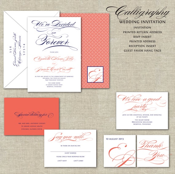 Coral And White Wedding Invitations: Coral Wedding Invitations Navy Blue & Coral Wedding Wedding