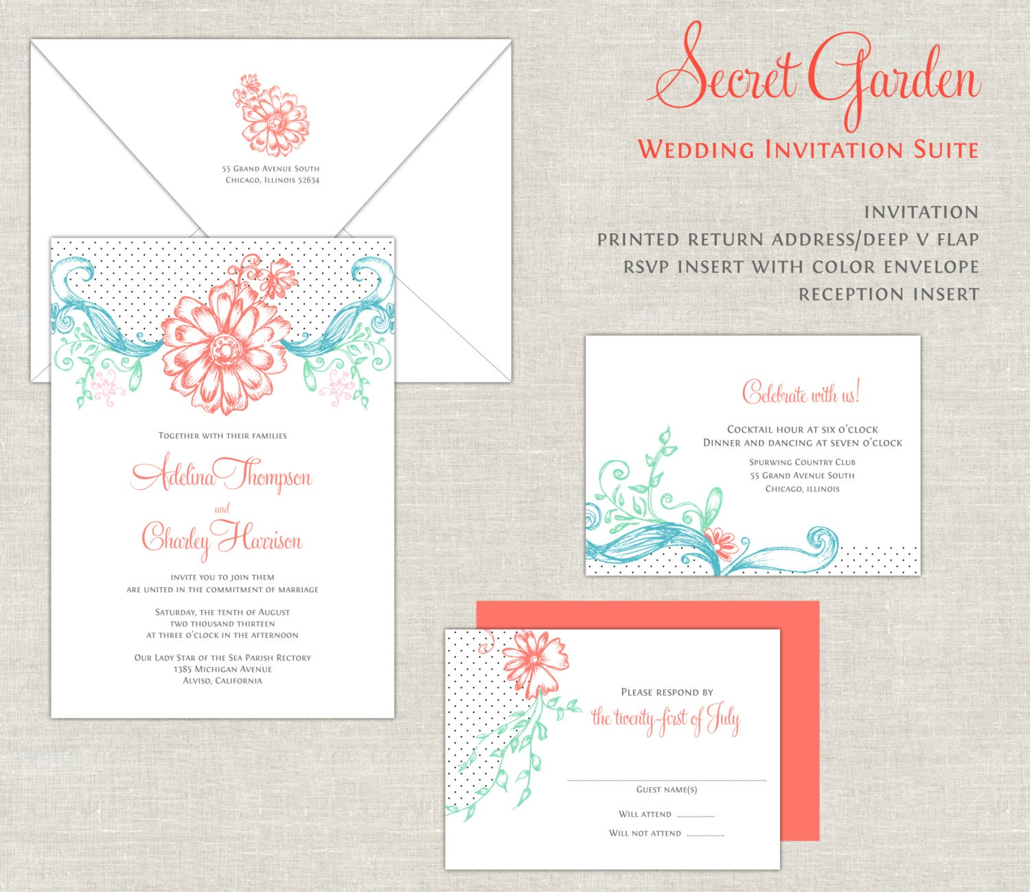 Coral & Turquoise Wedding Invitations Garden Wedding