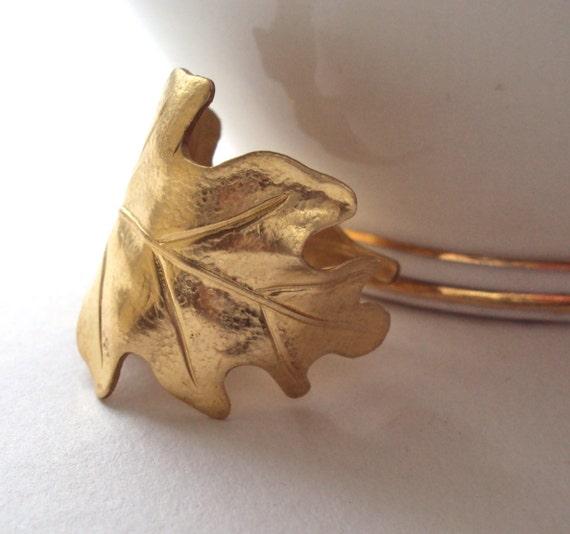 Gold Oak Leaf ring - adjustable band