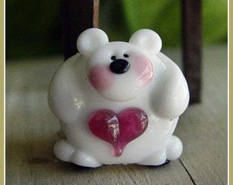 Huggy Bear White Lampwork Bead