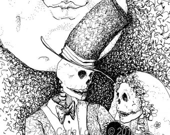 Skeleton Wedding, Day of the Dead, gothic valentine, Giclee print, Pen and ink drawing,